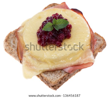 Fresh made portion of Toast Hawaii isolated on white background