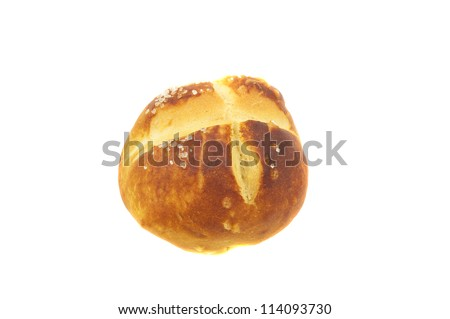 Fresh Made Salty Bun Isolated On White