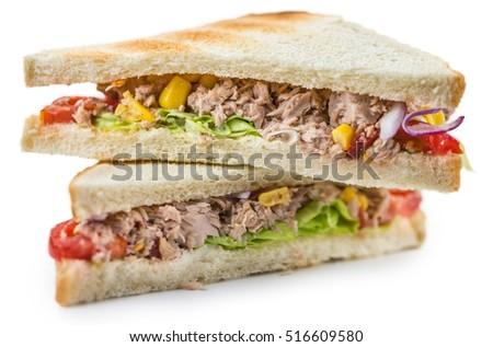 Fresh made Tuna Sandwich (isolated on white)