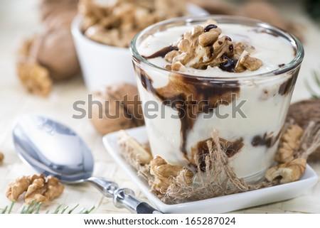 Fresh made Walnut Yoghurt with Chocolate sauce - stock photo