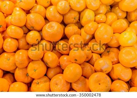Fresh mandarin oranges texture - stock photo