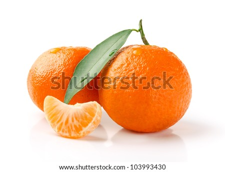 Fresh Mandarin with Leaf and Slice Isolated on White - stock photo