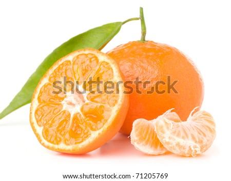 fresh mandarin with leaf isolated on white - stock photo