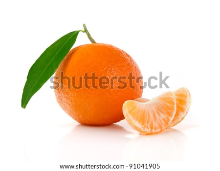 Fresh Mandarin with Leaves and Slices Isolated on White