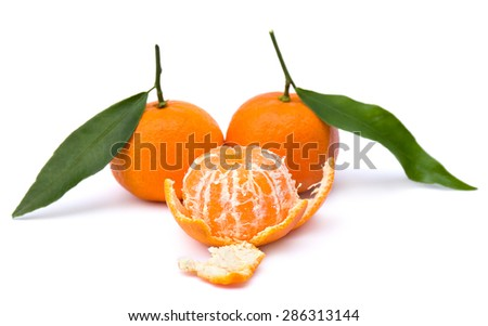 Fresh mandarins on white background - stock photo