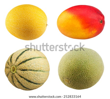 Fresh Mango fruit, ripe cantaloupe melon on white background. - stock photo