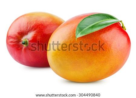 fresh mango isolated on white + Clipping Path - stock photo