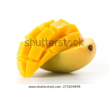 fresh mango on white background - stock photo