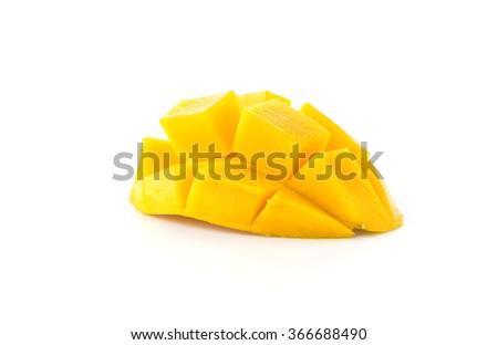fresh mango on white background - stock photo