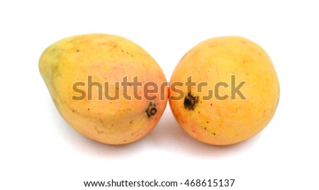 fresh mangoes isolated on white
