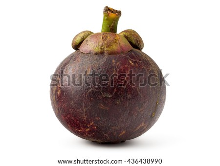 Fresh Mangosteen Isolated on White Background in Full Depth of Field with Clipping Path.