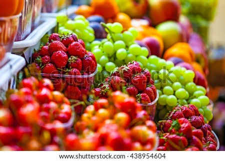 Fresh market produce at an outdoor farmer's market - stock photo