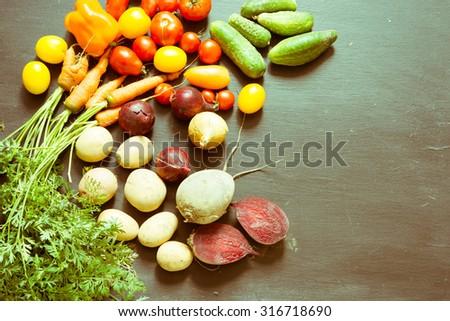 Fresh market vegetables/retro filter - stock photo