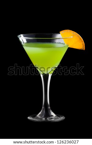 Fresh martini coctail isolated on black background