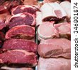 fresh meat. Fresh meat at a market. meat in shopping center - stock photo