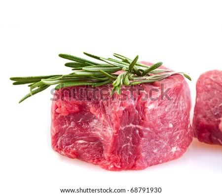 fresh meat on slice - stock photo