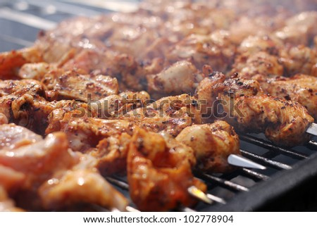 Fresh meat prepared on the charcoal - stock photo
