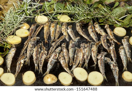 Fresh Mediterranean sardines, mackerel fishes and sliced organic potatoes, grilled and smoked with vine leaves, laurel, rosemary and fennel, selective focus - stock photo