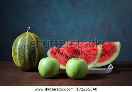 Fresh melon, apple and sliced ??watermelon - stock photo