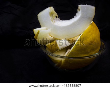 Fresh melon on dark background. Tasty melons. Beautiful melons background.