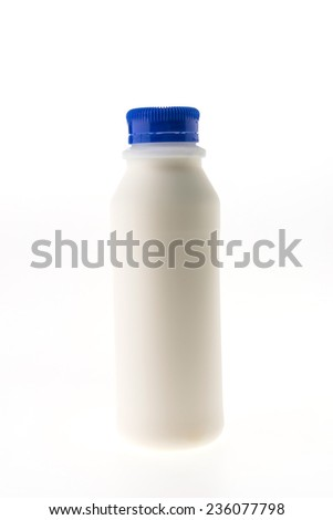 Fresh milk bottle isolated on white background