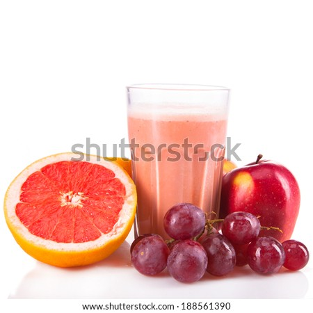 Fresh milk, grapefruits, grape and apple drink isolated on white background, assorted protein cocktail with fruits. - stock photo