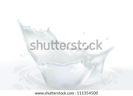 Fresh Milk splash making amazing waves and drops on white, Digital Painting - stock photo