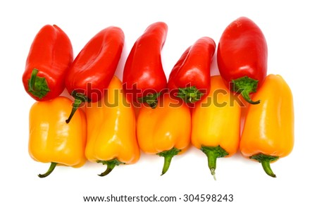 fresh mini peppers on white background