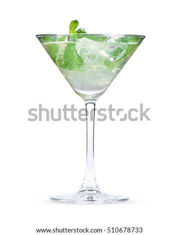 fresh mint cocktail isolated on a white background