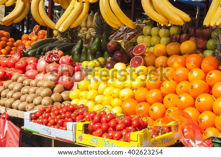 Fresh mix exotic fruit in a marketplace - stock photo