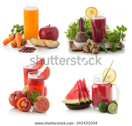 fresh mix smoothie compilation of some fruits isolated over white background - stock photo