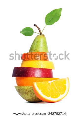 Fresh Mixed Fruit isolated - stock photo
