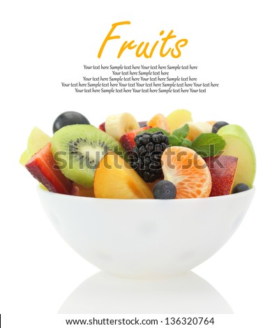 Fresh mixed fruit salad in a bowl - stock photo