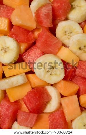 Fresh mixed fruit salad with banana, papaya,watermelon - stock photo