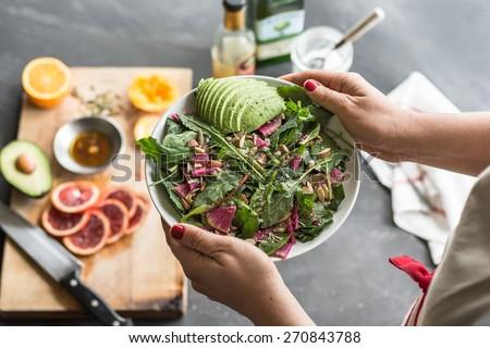 Fresh mixed green salad - stock photo