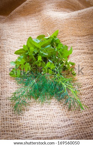 Fresh mixed herbs - dill, cilantro, mint, basil, tarragon and rosemary on a burlap background - stock photo
