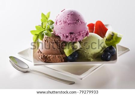 Fresh mixed ice cream close up shoot - stock photo