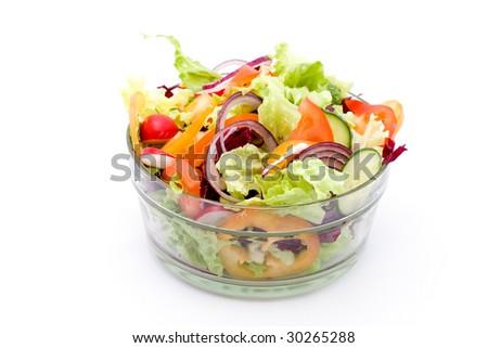 fresh mixed vegetable salad studio shots - stock photo