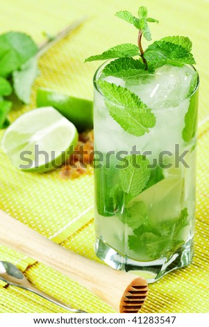 Fresh mojito alcohol cocktail with lime and mint