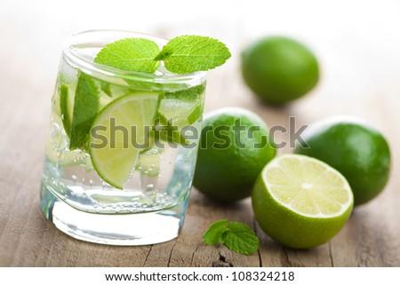 fresh mojito cocktail - stock photo