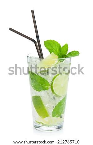 Fresh mojito cocktail. Isolated on white background - stock photo
