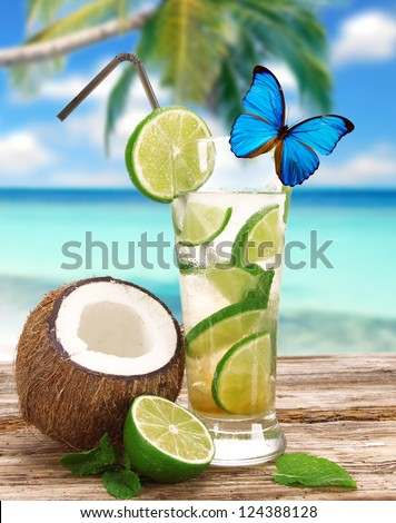 Fresh mojito cocktail on the beach