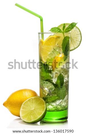 Fresh mojito cocktail on white background - stock photo
