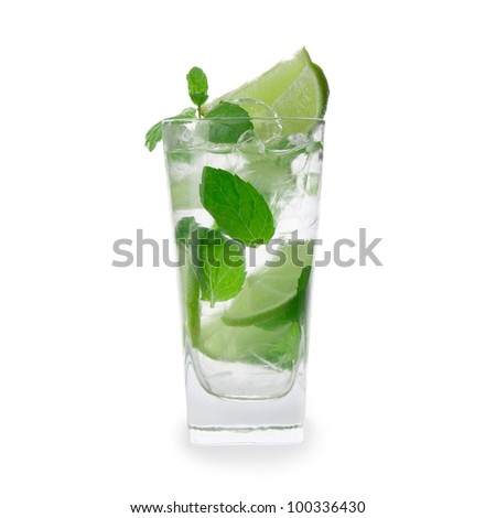 Fresh mojito drink over white background - stock photo