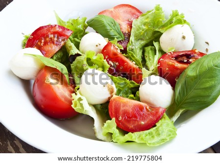 Fresh Mozarella and Tomato Salad with Basil Leaves and Green Lettuce, Healthy Fresh Salad - stock photo