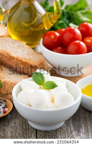 fresh mozzarella and ingredients for a salad, vertical, close-up - stock photo
