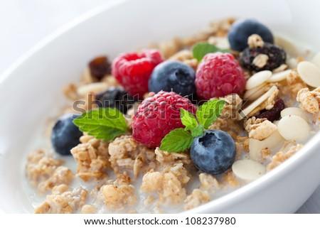 fresh muesli with fruits and milk - stock photo