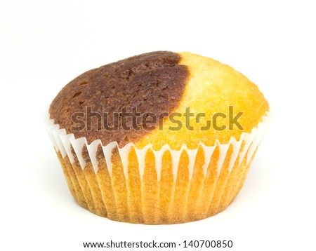 Fresh Muffin On White Background - stock photo