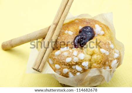 Fresh Muffin with some cinnamon sticks - stock photo