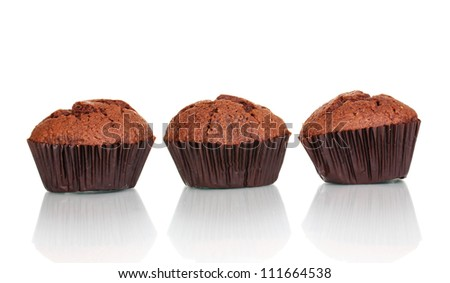 Fresh muffins isolated on white